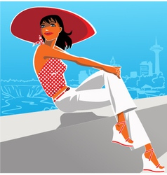 Woman in a red hat vector