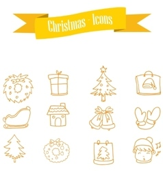 Yellow icon set of Christmas vector
