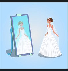 young woman in wedding dress vector image