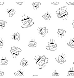 coffee seamless pattern in doodle style vector image