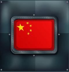 flag on china on metalic background vector image