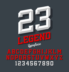legend typeface beveled sport style retro font vector image
