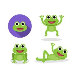 set of green frog in cartoon style vector image vector image
