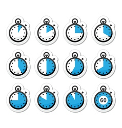 Time clock stopwatch icons set vector image vector image