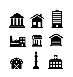 Buildings and architectural icons vector image vector image