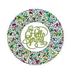 Stylized wreath with doodle flowers Round floral vector image vector image
