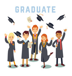 university young graduate students graduation and vector image