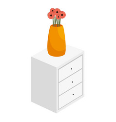 bedside table with drawers and flowers vase vector image