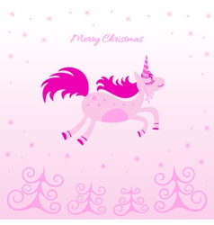 Christmas card with a dreamy horse vector image vector image