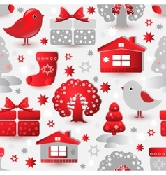 Christmas seamless pattern Include tree house vector image vector image