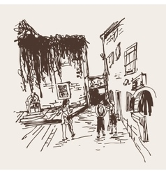 Old building with clambering plant and people vector