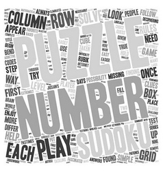 Play Sudoku The Easy Way text background wordcloud vector image vector image
