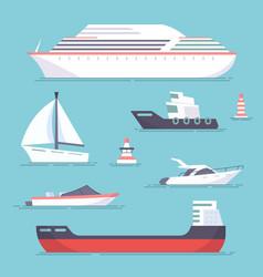 set of marine ships boats yachts and sailing vector image vector image