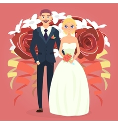 Wedding couple with bouquet vector image