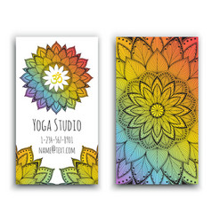 yoga studio business card with mandala design vector image vector image