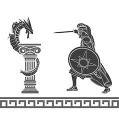 ancient hero and dragon stencil vector image