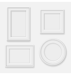blank white picture frame template set vector image vector image