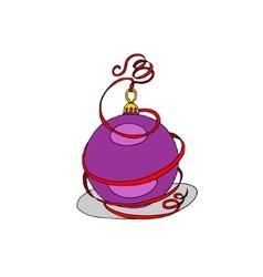 Christmas ball with beauty ribbon vector image vector image