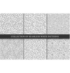 collection of hand drawn seamless patterns vector image vector image