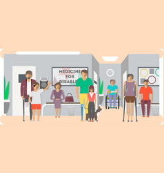 disabled people in hospital banner in flat style vector image