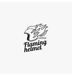 Flaming helmet mono color logotype vector image vector image