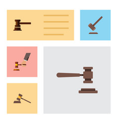 flat icon court set of court tribunal government vector image vector image