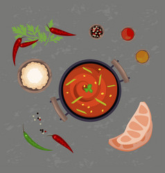 red pungent curry vector image