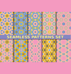 Set of ten colorful seamless patterns vector