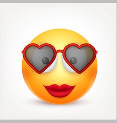 smiley emoticon with glasses yellow face with vector image