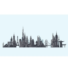 World landmarks silhouette Travel and tourism vector image vector image