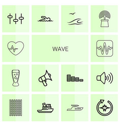 14 wave icons vector image