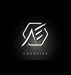 Ae a e brushed letter logo design with creative vector