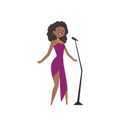 African american jazz singer beautiful woman in vector