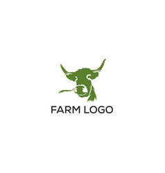 angus cow farm logo graphic design template vector image
