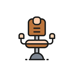 Barber chair hairdresser flat color line icon vector