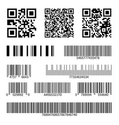 barcodes supermarket scan code bars and qr codes vector image