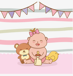 bashower card with little girl baby vector image