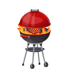 Bbq grill with and steak vector