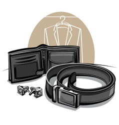 Belt and wallet vector