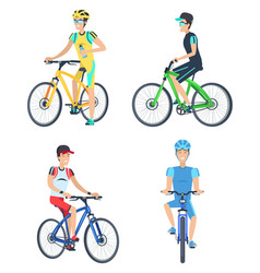 bicyclists wearing costumes vector image
