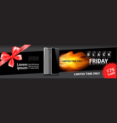 black friday sale template horizontal banner vector image