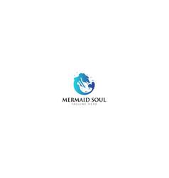 blue mermaid soul logo design vector image