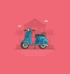 blue scooter on villa background vector image