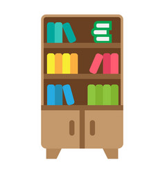 bookshelf flat icon furniture and interior vector image vector image