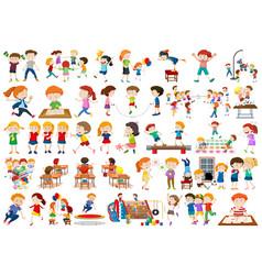 Boys girls children in educational fun activty vector