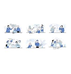 Business communication cartoon people work in vector