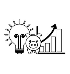 business piggy bank chart and bulb vector image