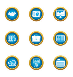 Business publication icons set flat style vector