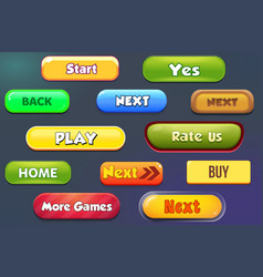 Buttons for mobile games detail ui vector
