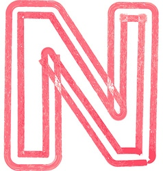Capital letter N drawing with Red Marker vector image